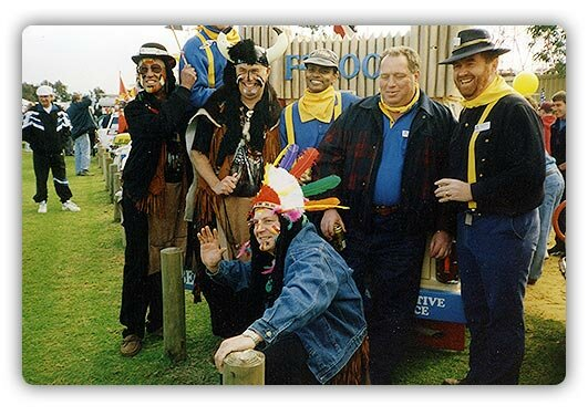 F Troopers and Fakawe Tribe relaxing before the 1997 Variety Club Bash